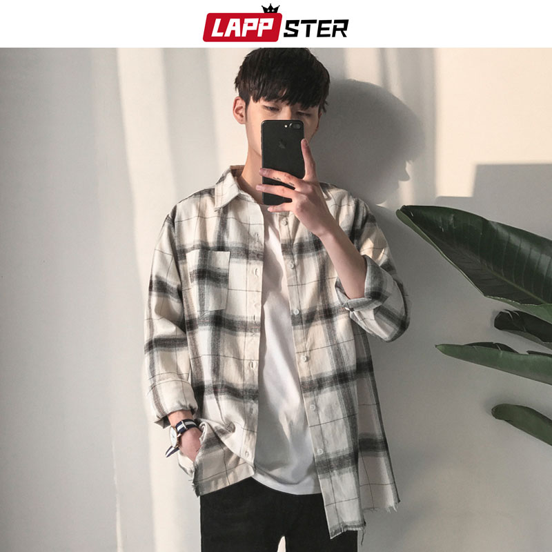 LAPPSTER Males Hip Hop Plaid Shirts 2019 Male Korean Trend Streetwear White Shirt Male Unfastened Classic Outsized Shirt Clothes Informal Shirts, Low-cost Informal Shirts, LAPPSTER Males Hip Hop Plaid...