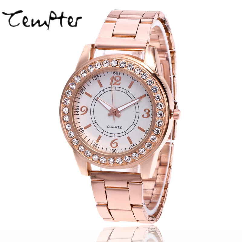 TEMPTER New Brand Gold Rhinestone Casual Quartz Watch Women Full Steel Watches Luxury Watches Relogio Feminino gifts Clock 2017 new luxury brand dqg crystal rosy gold casual quartz watch women stainless steel dress watches relogio feminino clock hot sale