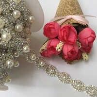 5 Yards Hochzeit Braut Strass Perlen Kette Kristall Trimmen Band Sparkle Diamante Nähen auf Trimmen