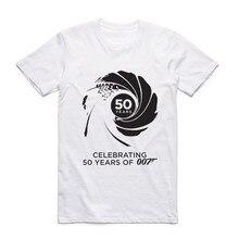 Fashion Men Print Movie Film James Bond 007 T-shirt Short Sleeves O-Neck Summer Style Hipster Cool Casual Tops Tees T Shirt