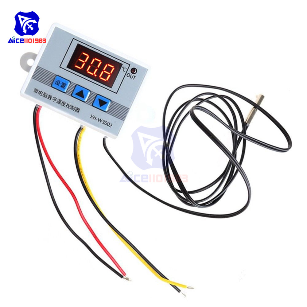 AC 220V/DC 12V/24V 10A XH-W3002 Digital LED Temperature Controller for  Arduino Cool/Heat Switch Thermostat with NTC Probe Sensor