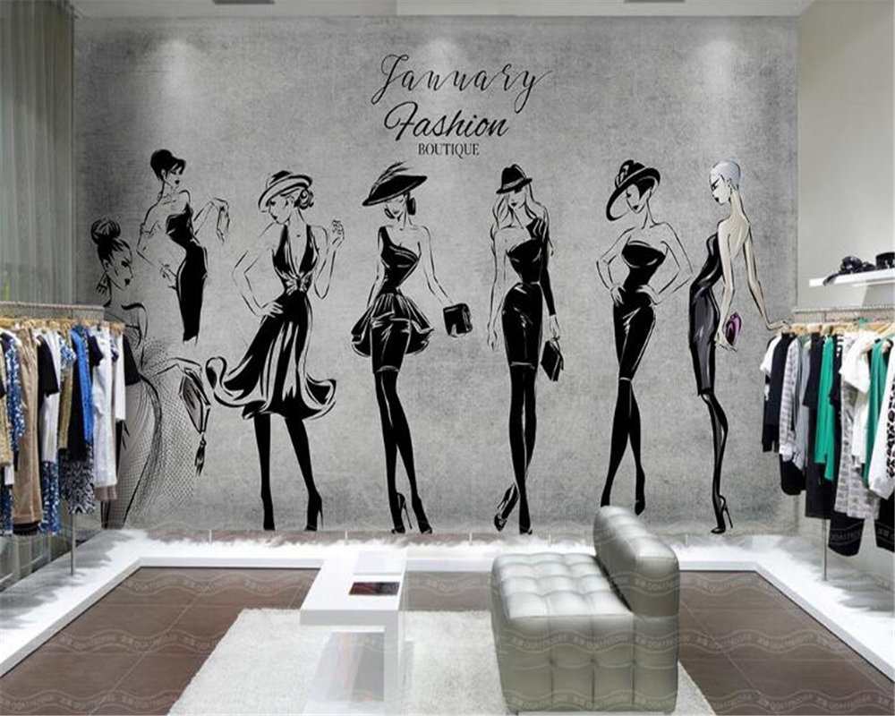beibehang mural Custom personalized retro hand-painted beautiful wallpaper clothing shop tooling background wall 3d wallpaper