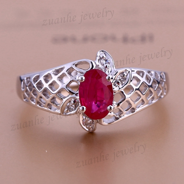 Estate! Solid 14k White Gold Vintage Retro Natural Ruby Real Diamonds Women Ring Lady Engagement Wedding Ring