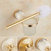 European Gold Plated Toilet Brush Holder Wall Mounted Bathroom Space Alumminum Toilet Brush Rack Set Toilet