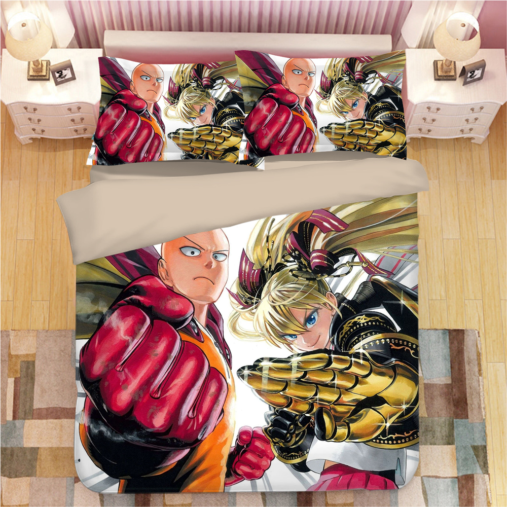 ONE PUNCH MAN Bedding Set Duvet Cover Pillowcases Cartoon Anime Comforter Bedding Sets Bedclothes Bed Linen Twin Full Queen King
