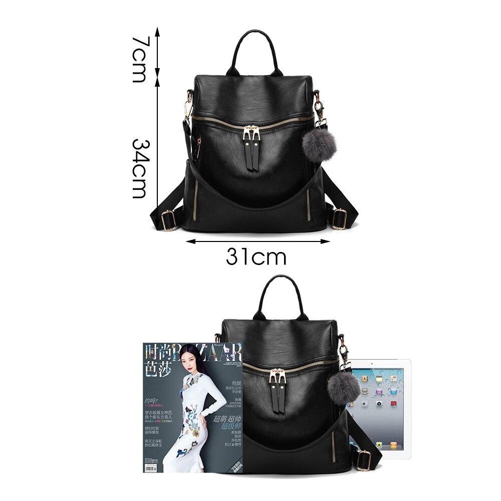 Herald Fashion Simple Backpack Women PU Leather Backpack For Teenage Girls School Bags Fashion Vintage Solid Black Shoulder Bag  2