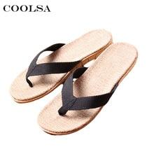 Coolsa/Новинка; летние мужские льняные тапочки; тканевые льняные вьетнамки на плоской подошве; нескользящие домашние тапочки; мужские повседневные пляжные сандалии; обувь