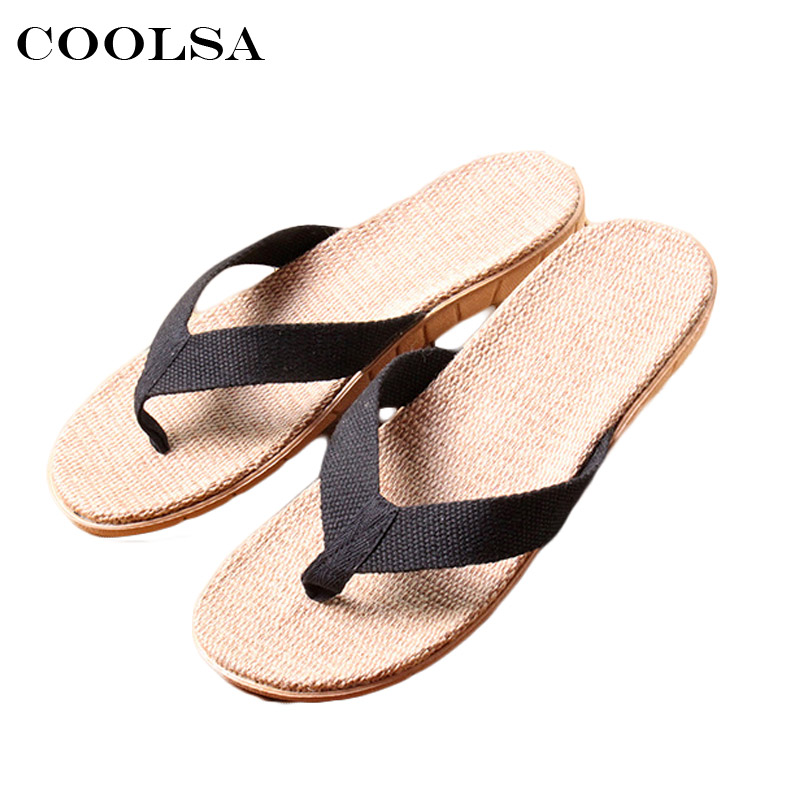 Coolsa New Summer Men Linen Slippers Fabric Webbing Flax Flip Flops Flat Non Slip Home Slippers Man Casual Beach Sandals Shoes coolsa new summer linen women slippers fabric eva flat non slip slides linen sandals home slipper lovers casual straw beach shoe page 3