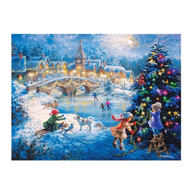 5d diy алмаз мозаика алмаз вышивка Рождество 3D алмаз живопись Зима Рождество Night pictures home decor новогодний Подарок