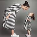 2017 Новая Коллекция Весна и Осень Стиль Семьи Соответствующие Наряды Мать И Дочь Осень Полный Черный Полосатый Платье