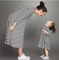 2017 New Spring&Autumn Style Family Matching Outfits Mother And Daughter Fall Full Black Striped Dress