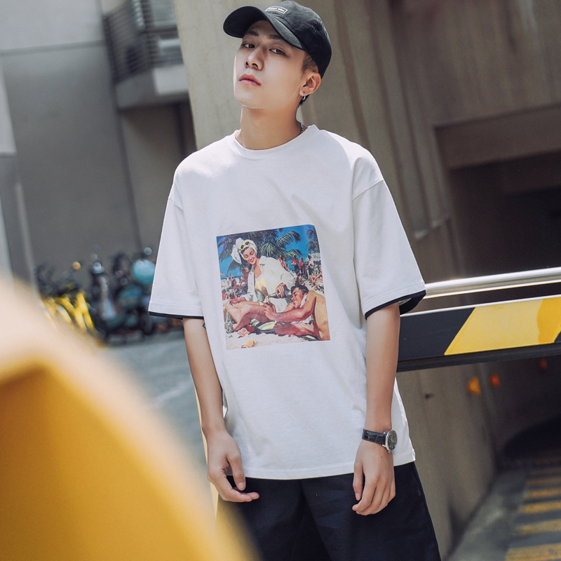 Feel Very Comfortable Real False Two Paper Figure Printing Tee Pity Summer Man hiphop letter casual Favourite Free shipping
