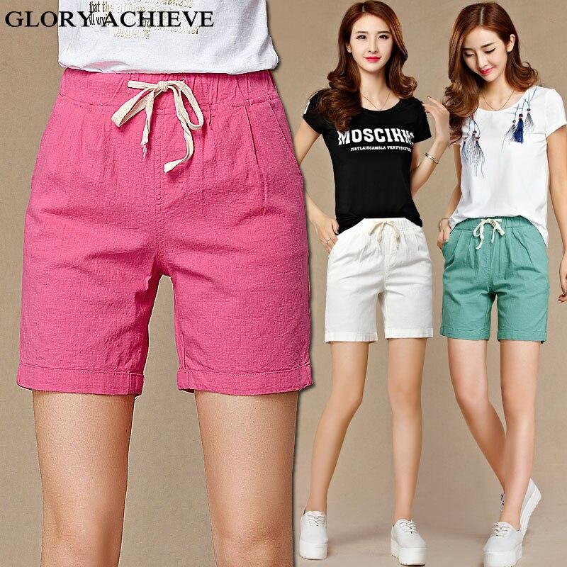 Summer Style Women Straight Cotton Linen   Pants   Woman Casual Knee Length   Pants     Capris   Plus Size Elastic Waist   Capris   For Women