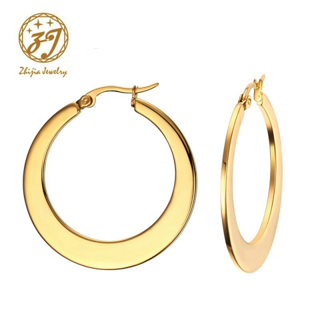 Zhijia Vintage Circle Earrings Large Hoop Matte Gold Color Earings Stainless Steel Hoops