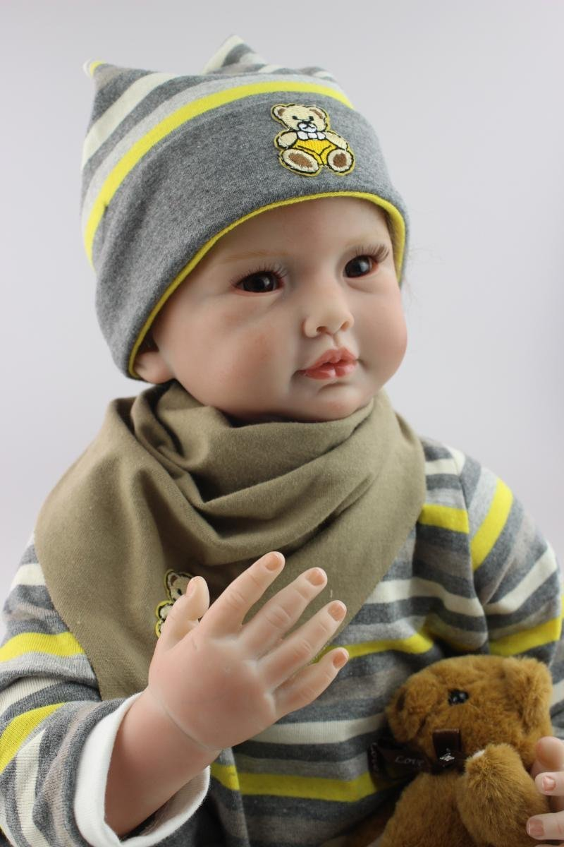 NPK Reborn Doll Vinyl Silicone 22 inch 55 cm Babies Doll, Lifelike express Toys Girl for Children Gift Doll with Fashion Scarf reborn baby doll vinyl silicone 28 inch 70 cm babies doll lifelike express toys girl for children gift beautiful princess dress