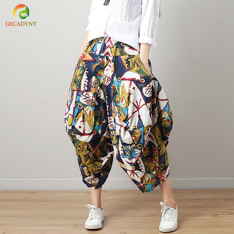 Celmia 2019 Sommer Frauen Retro Weiß Hosen Elastische Taille Breite Bein Hosen Feste Beiläufige Lange Hose Plus Größe 5XL Pantalon femme
