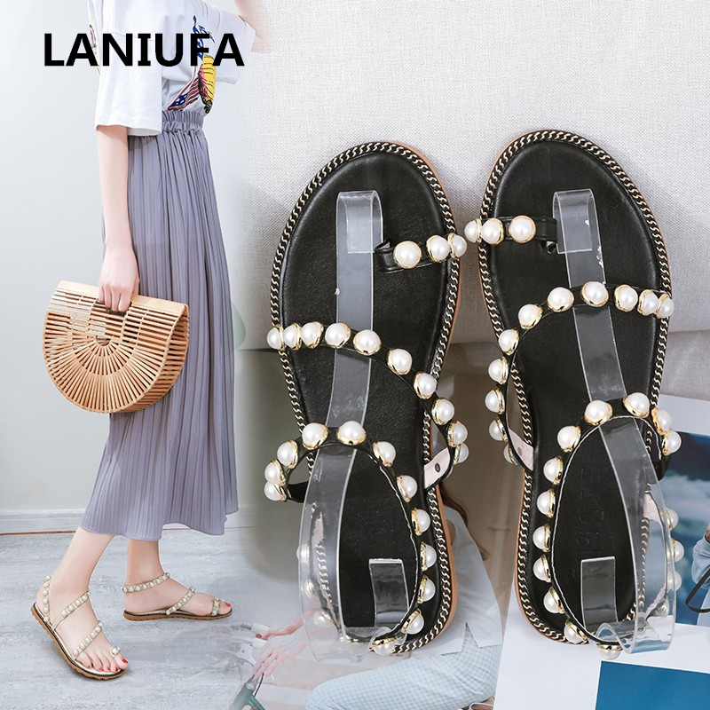 Sandals Flats-Shoes Pearl Open-Toe Female Gladiator Summer New Casual -684