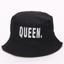 VORON KING QUEEN Hip Hop bucket hat Embroider Letter Couples Lovers Adjustable Sun Fishing Hats for Men Women sun hat