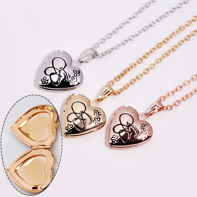 YYW Fashion Locket Necklace Heart Gold-color photo locket oval chain flower pattern for woman Approx 15.7 Inch Strand