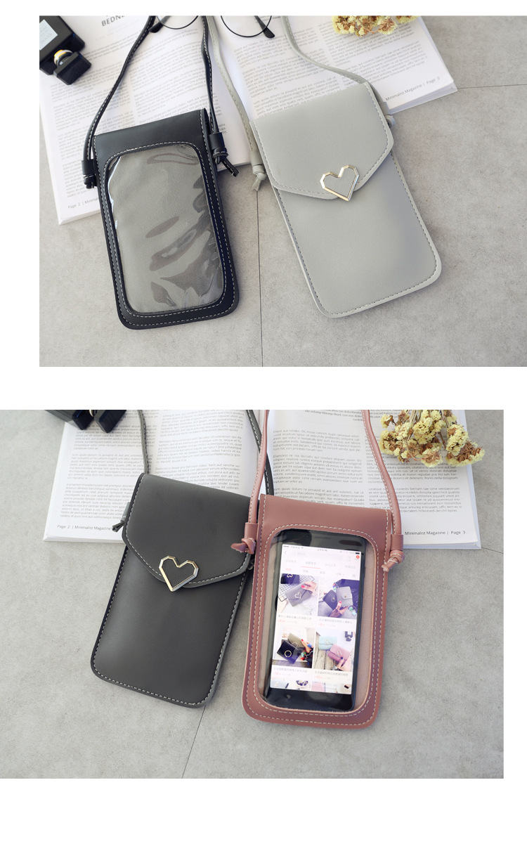 Women Bag For Phone Transparent 2020 Women Coin Purse Cross Shoulder Bag Girls Cute Phone Bag Mini Heart type Hasp Mobile Pouch