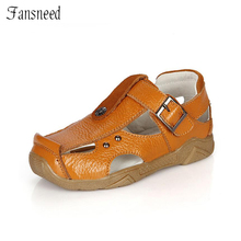 Fashion Genuine Leather boy 's beach sandals ankle bag with sandals
