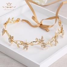 Bavoen Wedding Handmade Gold Hairbands Brides Korean Soft Rhinestone Tiara Headwear Crystal Hair Jewelry