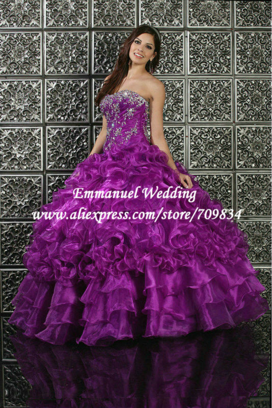 TB536 Beaded Sweetheart Purple Formal Prom Dresses 2014 Ball Gown Jacket Empire Waist vestido de fiesta - Emmanuel Wedding store