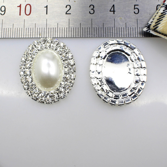 2017 New Hot 5Pcs 23 28mm Oval Diy jewelry Accessories rhinestones pedestal  embellishments caps Decoration For Making White 920990a9778a