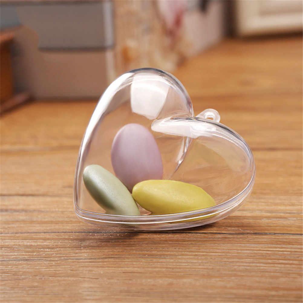 1PCS ברור שקוף פלסטיק סוכריות תיבת אהבת לב צורת עבור תליית פסטיבל קישוט