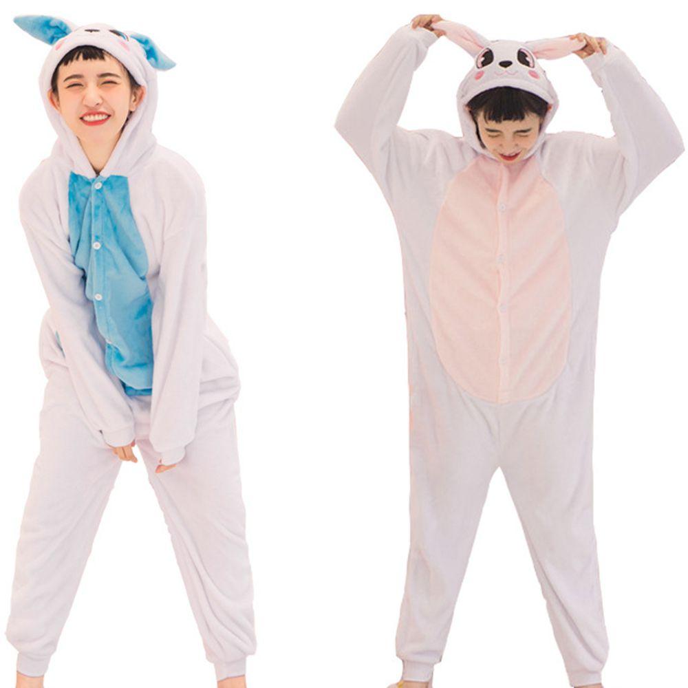 Women Kigurumi Blue Pink Rabbit   Pajamas     Sets   Flannel Animal Hood   Pajamas   Adult Winter Onesies Nightie Pyjamas Sleepwear Homewear