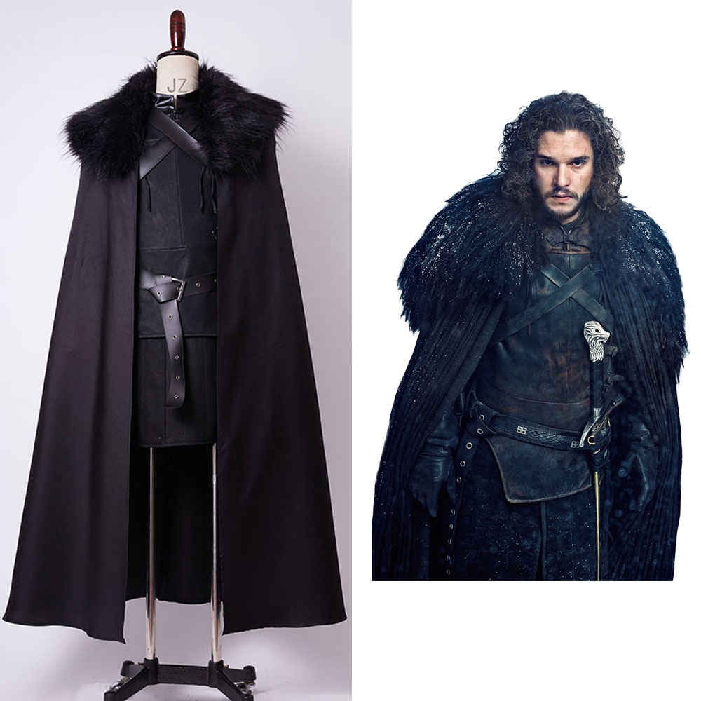 GoT Game of Thrones Jon Snow Night's Watch Outfit Halloween Cosplay Costume For Adult Men  full set costume