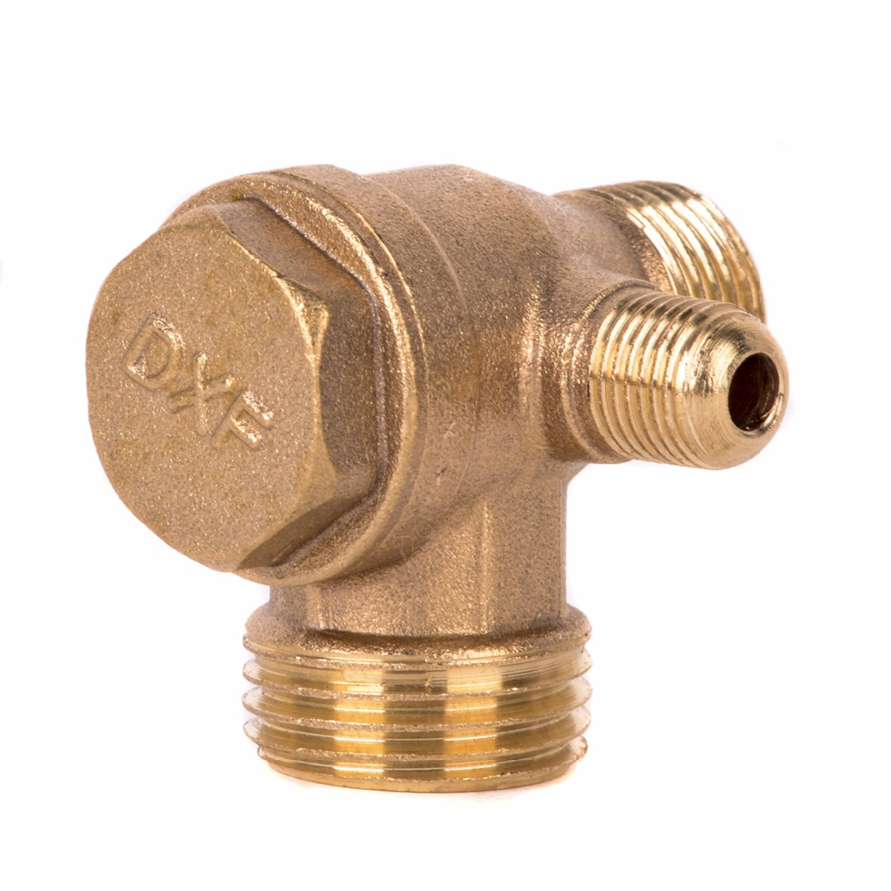 1pc New 3 Port Check Valve Brass Male Thread Check Valve Connector Tool For Air Compressor 4