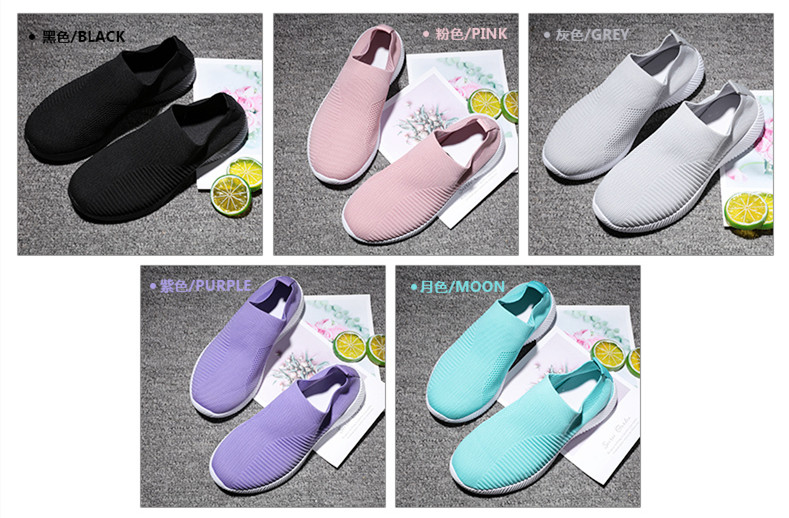 Slip On Flying Knit Women Fashion Sneakers Breathable Flat Heel Casual Shoes Round Toe Low Top Women Shoes XU034 (15)