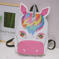 Unicorn Funny Animal Miyahouse Casual Canvas School Backpack Women Lovely Printed Backpack Large Capacity Ladies School