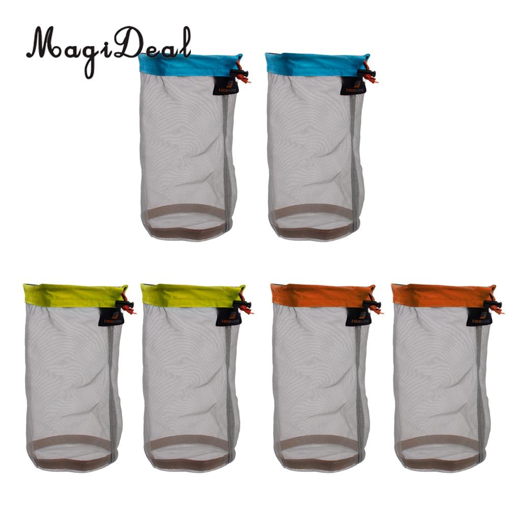 MagiDeal 6 Pieces Ultra Light Mesh Stuff Sack Storage Bag Pouch for Tavel Camping sleeping bag