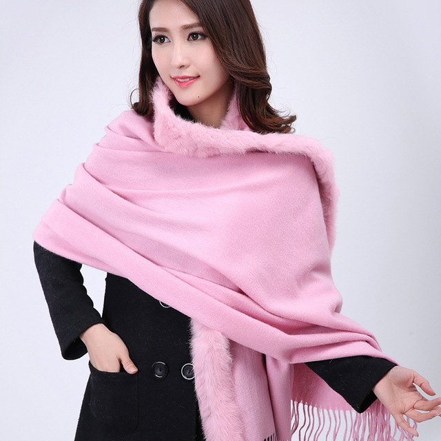 Light Pink Women 100% Wool Cashmere Pashmina Winter Thick Warm Shawls Scarves Rabbit Fur Cape Stole 180 x 69 cm