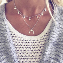 HOMOD 2019 Bohemian Long Pendant Necklaces For Women Vintage Gold Color Beads Moon Choker Multi Layer Necklace Statement Jewelry