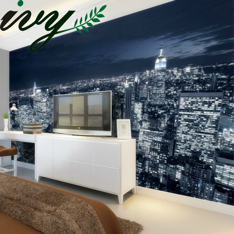 Photo 3D Wallpaper Scenery Wall Paper Walls Large Livingroom Wallpapers Wood New York Night Mural de parede Modern Vinyl Paper shinehome nature banana leaf wallpaper 3d photo wallpaper rolls for walls 3 d livingroom wallpapers mural roll paper background