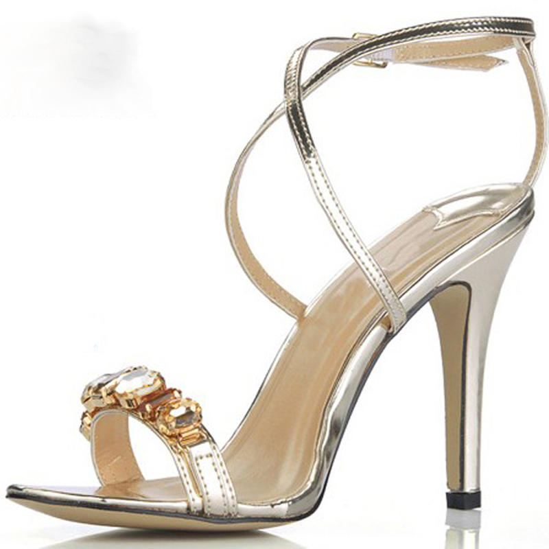 988eec3aa7e Popular silver High heels sandals Shining diamond Cross thin belt Women s  bride Wedding Shoes Evening sandals pumps-in Women s Sandals from Shoes on  ...