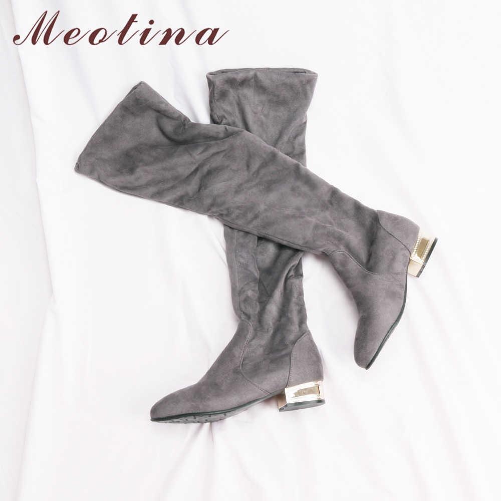 Meotina Kadınlar Diz Çizmeler üzerinde Düşük Topuklu Kış Ayakkabı 2018 Uyluk Yüksek Çizmeler Siyah Blok Topuklu Uzun Ayakkabı Sonbahar boyutu 33-43 42