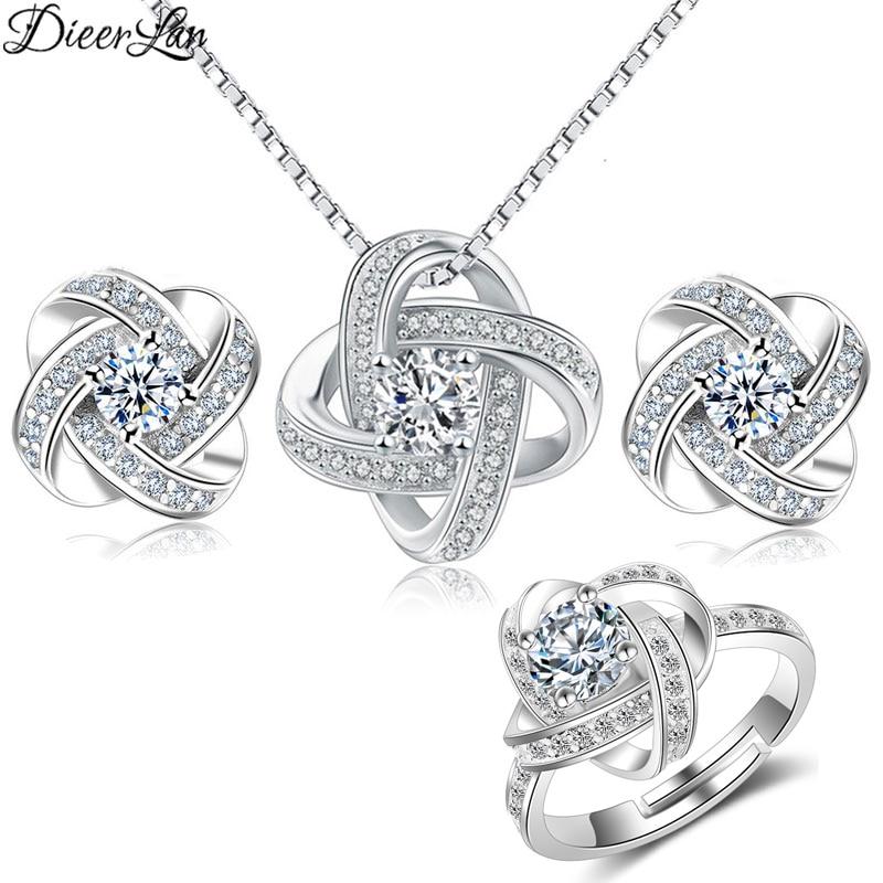 DIEERLAN 2019 Bridal Jewelry Sets 925 Sterling Silver Crystal Cross Clover Flower Necklaces For Women Wedding Jewelry Bijoux