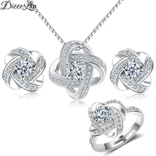 hot deal buy dieerlan 2019 bridal jewelry sets 925 sterling silver crystal cross clover flower necklaces for women wedding jewelry bijoux
