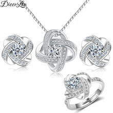 DIEERLAN 2019 Bridal Jewelry Sets 925 Sterling Silver Crystal Cross Clover Flower Necklaces for Women Wedding Jewelry Bijoux(China)