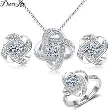 0b2eb99e327a DIEERLAN nupcial 2019 conjuntos de joyas de cristal de Plata de Ley 925  Cruz Flor de trébol collares para las mujeres joyería de.