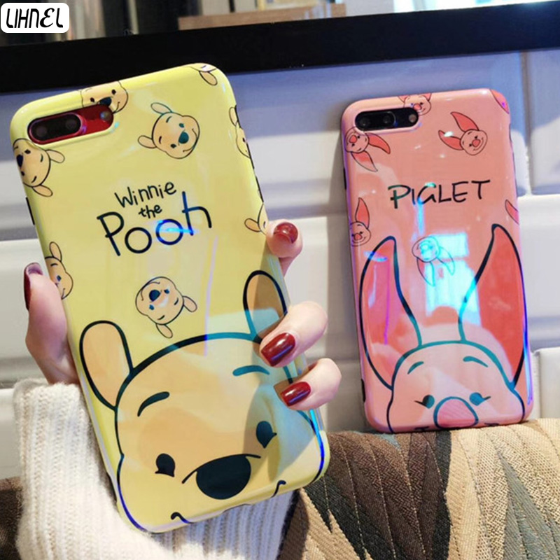 LIHNEL Cute Pooh Bear Piggy Pattern Shockproof Blue Light Ray TPU Back Shell Cover for iPhone X 6 Plus 6 6S 7 7Plus Case Capes