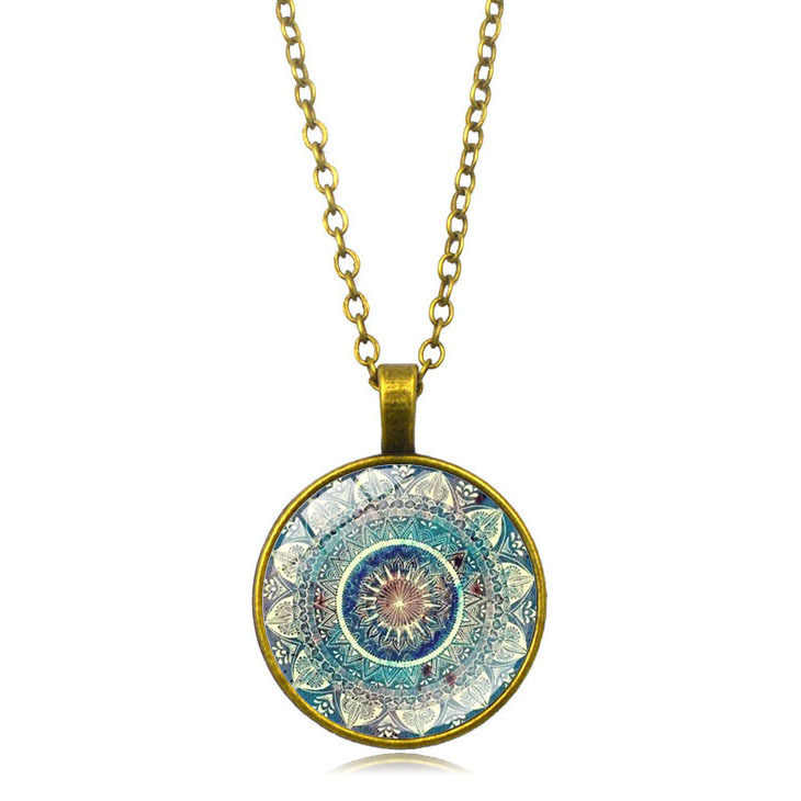 ホットチャーム曼荼羅アート絵のネックレスヘナクリスタルペンダントヨガ Om シンボル禅仏教ガラス女性のギフトのため 3 色