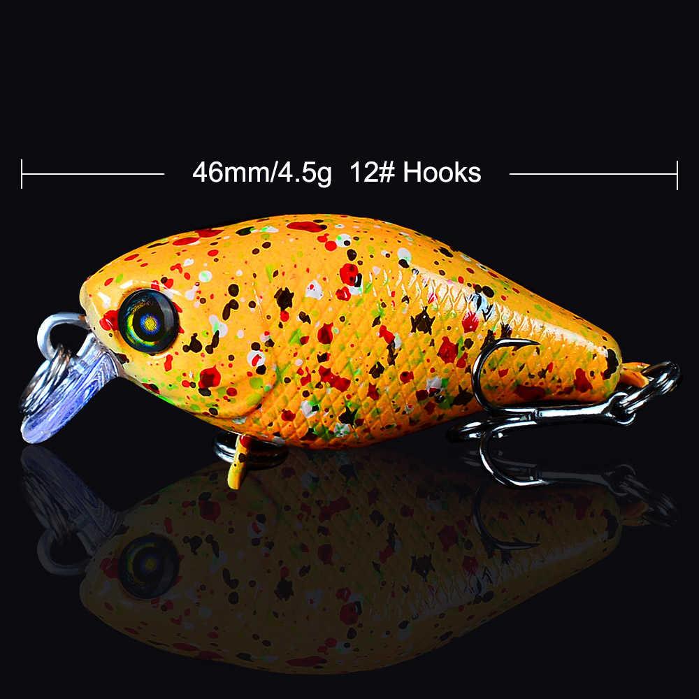 """Высокое качество 1 шт. рыболовные приманки 6 цветов рыболовные снасти 4,6 см-1,81 """"жесткие приманки с 12 # ВКБ Крючки 4,5 г-0,16 унций рыболовные приманки"""