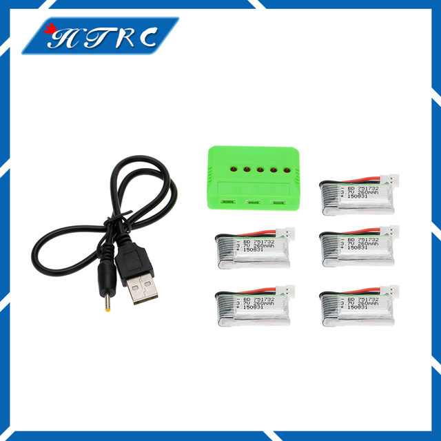 3.7V 260mAh Lipo Battery 5pcs and X5 Charger for Eachine H8 JJRC H8 Mini RC Quadcopter drone part wholesale Free shipping