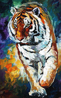 Skills Artist Hand painted High Quality Abstract Tiger Oil Painting On Canvas Abstract Knife Tiger Oil Painting For Living Room