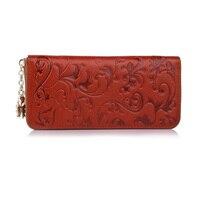 Genuine Leather Wallet Women Zipper Around Purse Flower Pattern Lady Long Wallets Bags Handbags Brown Morning